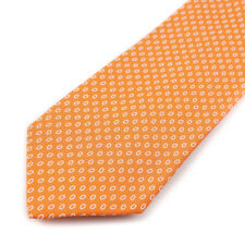 New E.MARINELLA NAPOLI Tangerine Orange and White Jacquard Print Silk Tie