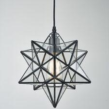 """Moravian Star Ceiling Light Clear Glass Pendant Light Foyer Hanging Light, 12"""""""