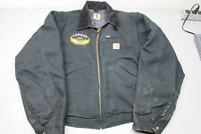 Carhartt Black Canvas Mens Jacket W/ Embroidered Carson Helicopter Fire Patch!!