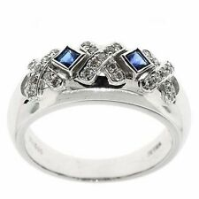 X-O- Ring Round Genuine Diamond & Princess Cut Blue Sapphire 14k Fine Gold