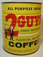 Old Vintage 1960s 2 GUYS FROM HARRISON NEW JERSEY 3 POUND GRAPHIC COFFEE TIN NJ