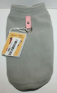 Gooby Fleece Vest Pullover Jacket Sweater w/Leash Ring SMALL BREED Gray