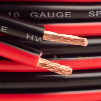 10 ft 10 Gauge Speaker Cable Car Home Audio AWG 10' Black and Red Zip Wire