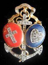 TRIFARI 1940 A Philippe Patriotic Faith Hope Charity Pin ~ Vintage Brooch ~ WW2