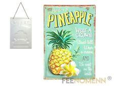 Plaque Métal Déco Vintage - EFFET RELIEF - Ananas / Pineapple - Fruit Exotique