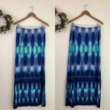 Chico's Size 1 Sandra Blue Purple Ikat Stretch Jersey Knit Maxi Skirt Medium M 8