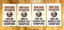 """New York Islanders Nhl Stanley Cup Champions 4 Banners/Flags 18.5"""" x 11.5"""""""