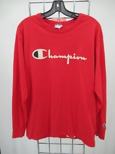 K8836 VTG Champion Long Sleeve Crewneck Spell-out Sports T-shirt Size M
