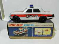 VINTAGE TIN TOY BATTERY OPERATED POLICE MERCEDES BENZ Nº 2057 MIB WORKS 1960