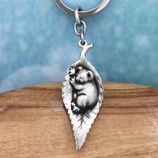 Australian Sleeping Gumleaf Baby Koala Souvenir Pewter Keychain Australiana Gift