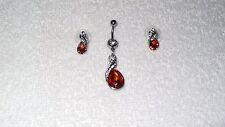 Amber Rose Teardrop Stone Belly Navel Ring Body Jewelry Piercing Earrings Set