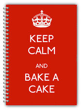NEW A5 STANDARD KEEP CALM AND BAKE A CAKE RED NOTEBOOK LINED PAPER GIFT