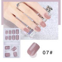 24pcs Solid French False Nails Art Acrylic Full Cover Tips Manicure Glue JG WF