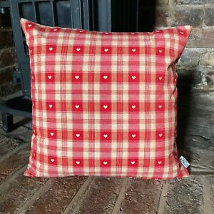 962.Red &Cream Check Heart Cushion cover 100% Cotton Cushion Cover Various sizes
