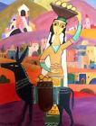 """Orig. FOLK ART PAINTING """"Fruit Selling Woman on Donkey""""- RUSSIAN ARMENIAN Artist"""