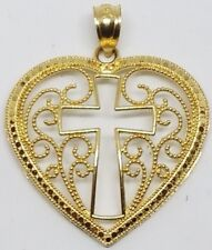 Cross heart 14k GOLD Real Yellow pendant Charm Filigree Necklace 1.5g 1""