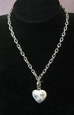 Fantastic chunky silver tone metal chain with White butterfly decorated heart