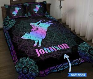 Bull Riding Purple Mandala Pattern Personalized Quit Bed Set