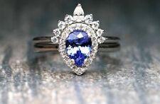 Pear Shaped Tanzanite Engagement Ring Crown Diamond Nesting Wedding Ring Set