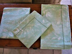 Parure de lit 4 pièces,drap,drap housse 140X190 ,2 taies d'oreiller,vert feuille