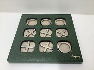 RARE Vintage TicTacToe LUXURY ASPREY LEATHER Elegant Game Cards Cocktails Mod