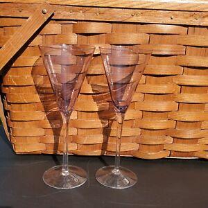 2 Purple Gems Colored Liquor Cordial Wine Glasses blown glass set