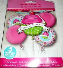Anagram CUPCAKE HAPPY BIRTHDAY Pink Foil Balloon Bouquet