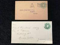 Großbritannien ab 1900 - 2x alte Briefe Ganzsachen nach Germany