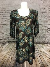 Fashion Bug Brown w/ Paisley Pattern Silky Pullover Dress w/ 3/4 Length Sleeves