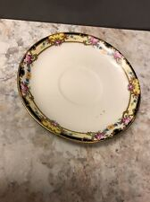 National Ivory Replacement Saucer, Pink roses Red Blue Flowers Yellow Black Gold