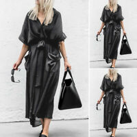 ZANZEA Elegant Ladies Batwing Long Shirt Dress Evening Party Sundress Midi Dress