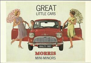 Postcard Grate little cars Morris mini-minors mini Sir Alec Issigonis British GB