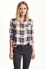 H&M - Light Beige/Blue Checked/Plaid Shirt/Top Size 14 Brand New