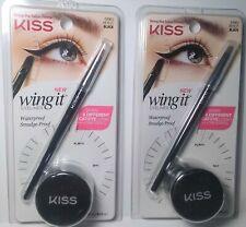 2 New Kiss Wing It Eyeliner Waterproof, Smudge-Proof Cat Eye Stencil Black 64963