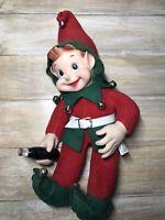 RARE Vintage Coca-Cola Pixie Elf Plush Doll 1950's Rushton Co. Rubber Face Hands