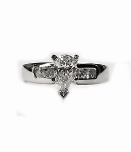 70% OFF PEAR SHAPE DIAMOND ENGAGEMENT RING 92PTS. IN 14KT WHITE GOLD