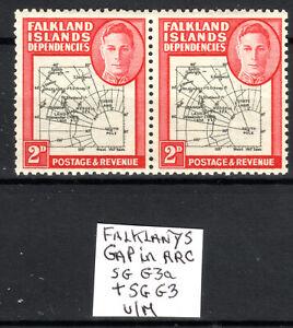 Falkland Dependencies MNH 2d SG G3a/G3 pair [gap in arc] 1946-49 [F140821-2]