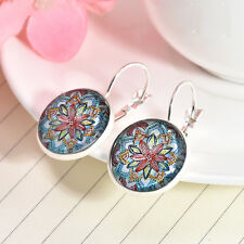 1 Pair Women's Fashion Bronze Glass Cabochon 17 mm Lever Back Earrings Jewelry