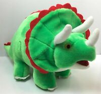 "Vintage Green Red Felt Triceratops Dinosaur Plush Stuffed 16"" BJ Toy Co"