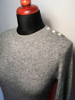 J. Crew Damen Pullover Cashmere Grau Rot Patches Rundhals Gr S 36 Weich Wolle