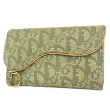 Auth Christian Dior Trotter Saddle Canvas Leather Wallet Purse F/S 2087