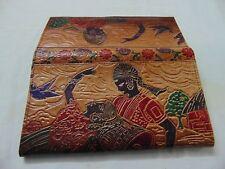Womens Leather India Shantiniketan Wallet Brown Vintage Style Clutch Bag