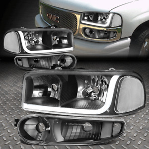 FOR 01-07 GMC SIERRA/YUKON DENALI LED DRL BLACK CLEAR HEADLIGHTS+BUMPER LAMPS