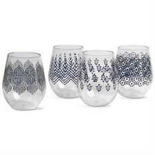 Tag Henna Acrylic Stemless Wine Glasses, Set of 4