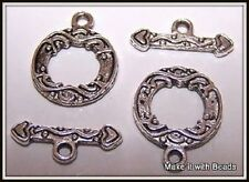 2 Sets Fancy 15mm Tibetan Silver Toggle Clasps Jewellery Findings Free P&P Offer