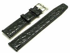 20mm Black Thin Croco Embossed Leather Watch Strap Fit Any Watch 20mm