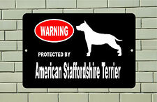 Warning Protected American Staffordshire Terrier dog breed metal aluminum sign