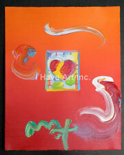 Peter Max-Heart Series 2010 Ver.1 #323-Mixed Media Painting on Paper-Art- Prints