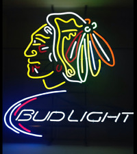 "Bud Light Chicago Blackhawks Neon Light Sign 20""x16"" Beer Cave Gift Lamp Bar"