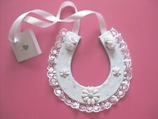 White & light blue horse shoe wedding good luck charm with flowers - bridal.